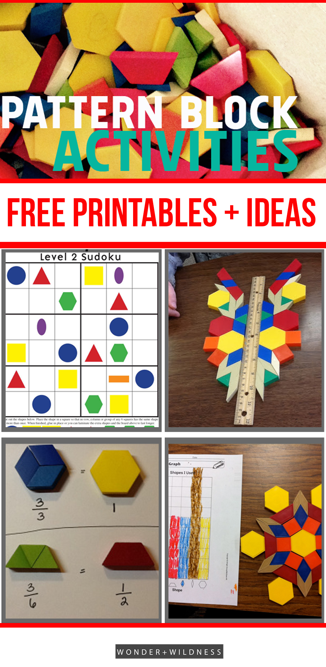 everyday math pattern block template - printable pattern block designs activities wonder